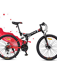 Mountain Bike Folding Bike Cycling 24 Speed 24 Inch YINXING Disc Brake Suspension Fork Steel Frame Carbon FoldingOrdinary/Standard