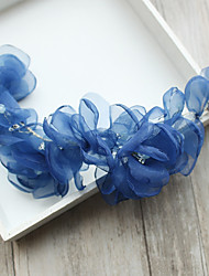 cheap -Tulle Chiffon Imitation Pearl Rhinestone Silk Net Flowers Hair Clip Headpiece