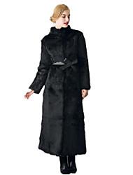 Cappotto di pelliccia Da donna Casual Semplice Autunno Inverno,Tinta unita Colletto alla coreana Pelliccia di volpe Lungo Manica lunga