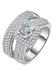 cheap -Women's Luxury AAA Cubic Zirconia Sterling Silver / Platinum Plated Band Ring - Round Luxury / Elegant Silver Ring For Wedding /