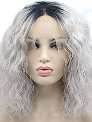 Sliver Gray Ombre Dark Roots Short Deep Wave Bob High Temperature Fiber Synthetic Lace Front Wigs For White Women Natural Wave Cosplay Party Wig