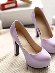 Women's Shoes PU Spring Comfort Heels Stiletto Heel Round Toe For Casual Black Light Purple Light Pink