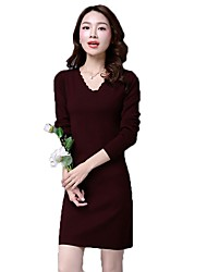 Women's Knitted Dress Deep V Neck Bodycon Dress Long Sweater