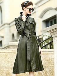 REVIENNE BAY Women's Casual/Daily Work Street chic Fall Winter Leather JacketSolid Shirt Collar Long Sleeve Regular Lambskin