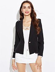 cheap -Women's Work Plus Size Blazer-Solid Color,Ruffle / Spring / Fall