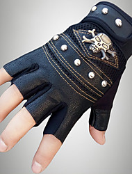 cheap -Men's PU Wrist Length Half Finger Soak Off Outdoor Sports Solid Rivet Skull Spring/Fall Summer Bike Cycling Leather Gloves Black