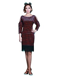 preiswerte -Latein-Tanz Kleider Damen Aufführung Flanell 1 Stück 3/4 Länge Ärmel Kleider