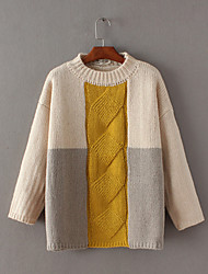 Standard Pullover Da donna-Per uscire Casual Semplice Moda città Monocolore A collo alto Manica lunga Lana Cotone Autunno InvernoMedio