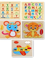 cheap -Building Blocks Jigsaw Puzzle Wooden Puzzles Math Toys Educational Toy Toys Square Fruit Animals Wooden 5 Pieces