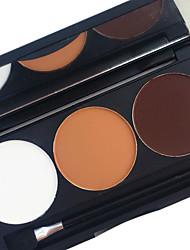 abordables -pro 3 color impermeable sombreador de ojos en polvo kit tierra tono de color duradera ojos ahumados sombra maquillaje paleta aplicador espejo