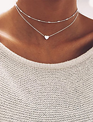 Women's New Simple Copper Beads Chain Choker Necklace Peach Heart Pendant Multi - Layer Party Birthday Engagement Gift Daily Casual