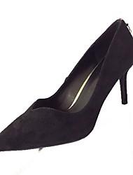 cheap -Women's Heels Light Soles PU Summer Casual Dress Kitten Heel Ruby Black 2in-2 3/4in