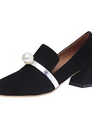 Women's Loafers & Slip-Ons Comfort PU Summer Dress Pearl Block Heel Blue Black 2in-2 3/4in