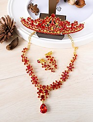 cheap -Women's Jewelry Set - Crown Vintage Include Necklace / Front Back Earrings Red For Wedding