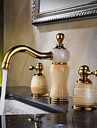 cheap -Luxury Classic Widespread High Quality Brass Valve Two Handles Three Holes Ti-PVD , Bathroom Sink Faucet
