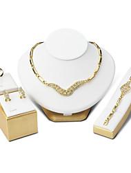 Women's Drop Earrings Bracelet Necklace Ring AAA Cubic Zirconia Wedding Jewelry Set Vintage Luxury Elegant Titanium Steel Jewelry  For Wedding Party