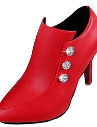 Femme Chaussures à Talons Confort Automne Polyuréthane Habillé Strass Talon Aiguille Noir Beige Rouge 7,5 à 9,5 cm