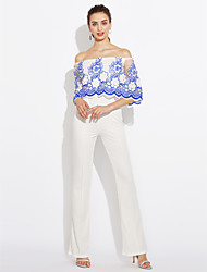 cheap -Daily Club Vintage Sexy Print Boat Neck Jumpsuits,Wide Leg Half Sleeves Summer Fall Polyester