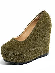 preiswerte -Damen Schuhe PU Frühling Sommer Pumps High Heels Keilabsatz Runde Zehe für Kleid Party & Festivität Gold Schwarz Silber