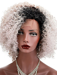 Ombre Grey Synthetic Lace Front Wigs For Women Heat Resistant Short Bob Natural Kinky Curly Afro Lace Wig 150% Density