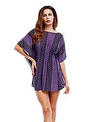 cheap -Women's Party Daily Holiday Going out Club Beach Casual Sexy Skater Dress,Striped Round Neck Mini Short Sleeves Rayon Summer All Seasons