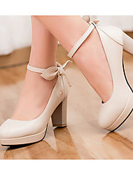 Women's Shoes PU Summer Comfort Heels For Casual White Black Beige Blue Blushing Pink