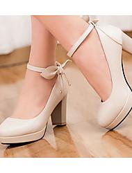 Damen Schuhe PU Sommer Komfort High Heels Für Normal Weiß Schwarz Beige Blau Rosa