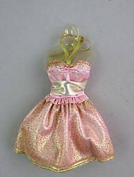 abordables -Mignon Robe Pour Poupée Barbie Or rose Robe Pour Fille de Jouets DIY