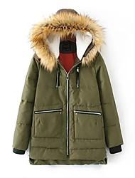 Damen Daunen Mantel,Standard Einfach Niedlich Street Schick Ausgehen Lässig/Alltäglich Solide-Kaschmir Weiße Entendaunen Langarm