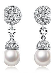 Femme Boucles d'oreille goutte Zircon Perle imitée Strass Mode Croix Personnalisé Le style mignon Bijoux de Luxe Cristal Imitation de