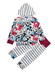 cheap -Baby Girl's Cotton Print Clothing Set Floral Spring/Fall Winter Hooded Tops Striped Pants 2pcs Outfits for Baby Girls Clothes