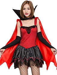 cheap -Vampire Cosplay Costume Christmas Halloween Carnival Oktoberfest New Year Festival / Holiday Halloween Costumes Red Solid Color Fashion