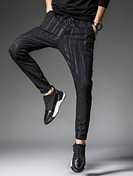 Homme Street Chic Actif simple Taille Normale Extensible Joggings Chino Pantalon,Sarouel Ample Rayé