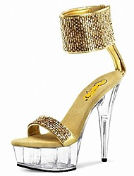cheap -Women's Shoes PU Summer Formal Shoes Sandals Stiletto Heel Peep Toe Rhinestone Crystal Sequin Buckle for Dress Party & Evening Gold Silver