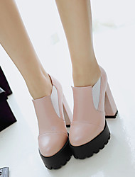 Women's Shoes PU Spring Fall Comfort Heels Chunky Heel Round Toe For Casual White Red Light Pink