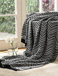 Knitted Stripe Cotton/Polyester Blankets