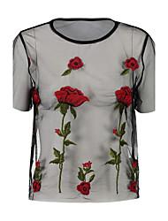 T-shirt Da donna Per uscire Casual Sensuale Moda città Per tutte le stagioni,Ricamato Rotonda Poliestere Manica corta