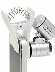 1PCS 60X Zoom LED Clip-type Loupe Microscope Jewelry Magnifier Jewelry Loupe Magnifier Micro Lens for Universal Mobile Phones
