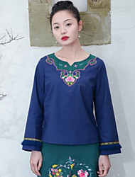 Women's Casual/Daily Chinoiserie T-shirt,Solid Embroidery Round Neck Long Sleeves Cotton Linen
