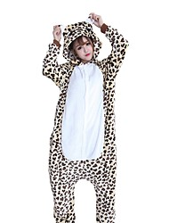 Kigurumi Pajamas Bear Leopard Festival/Holiday Animal Sleepwear Halloween Fashion Leopard Embroidered Flannel FabricCosplay Costumes