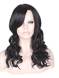 cheap -Synthetic Wig Loose Wave Side Part Black Women's Capless Natural Wigs Medium Synthetic Hair