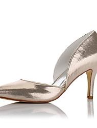preiswerte -Damen Schuhe Kunstleder Frühling Herbst Pumps High Heels Stöckelabsatz Spitze Zehe für Hochzeit Kleid Party & Festivität Silber Champagner