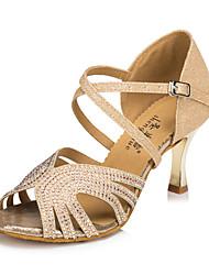 cheap -Women's Latin Leatherette Silk Sandal Sneaker Professional Rhinestone Faux Pearl Buckle Stiletto Heel Gold Blue Customizable