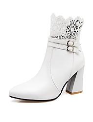 baratos -Mulheres Sapatos Courino Outono / Inverno Conforto Botas Caminhada Salto Robusto Dedo Apontado Botas Curtas / Ankle Presilha para Social