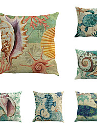 Set Of 6 Mediterranean Design Conch Sea Horse Pillow Cover Classic Square Pillow Case