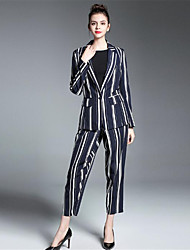 cheap -ZIYI Women's Work Sophisticated Suits - Solid Colored / Striped Shirt Collar