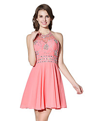 cheap -Princess Fit & Flare Halter Short / Mini Chiffon Cocktail Party Dress with Beading by Sarahbridal