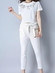 abordables -Mujer Simple Casual/Diario Primavera T-Shirt Pantalón Trajes,Escote Redondo Un Color Patrón Manga Corta