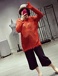 Lungo Pullover Da donna-Casual Tinta unita Rotonda Manica lunga Acrilico Primavera Extra velo Media elasticità