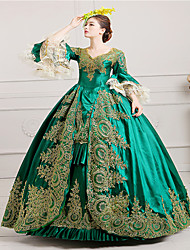cheap -Vintage Victorian Rococo Costume Women's Dress Masquerade Party Costume Green Vintage Cosplay Lace Satin Long Sleeves Poet Long Length